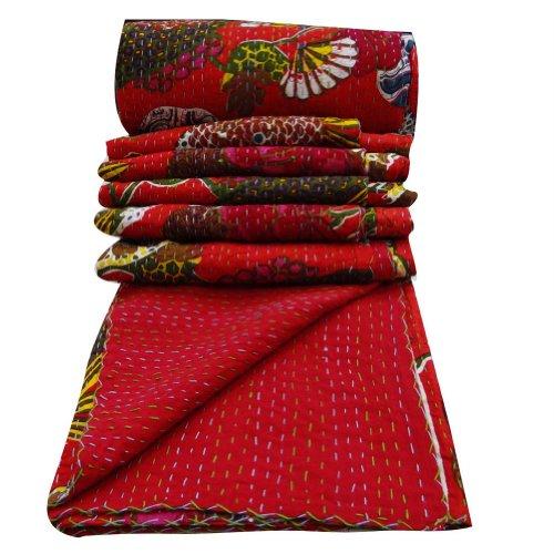 Handicrunch BettwäSche-Set, 100 %Baumwolle, Gesteppt, Blumenmuster, Kantha Schemel Gudri Dekorative Rote Reverssible Tagesdecke India 106 X 90 Zoll)