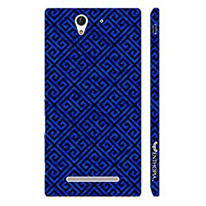 Sony Xperia C3 Blue Greecian Pattern designer mobile hard shell case by Enthopia