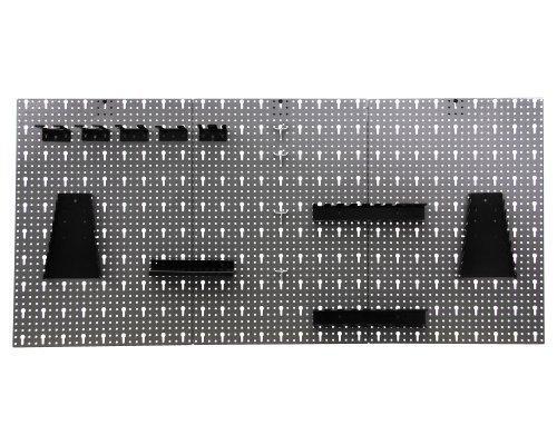 Werkzeugwand-Lochwand-mit-17-tlgHakensortiment-Werkstatt-aus-Metall