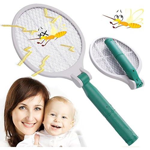 【折り畳み式】 電撃 殺虫ラケット ハエ叩き 蚊取りラケット 殺虫器 持ち運びに便利