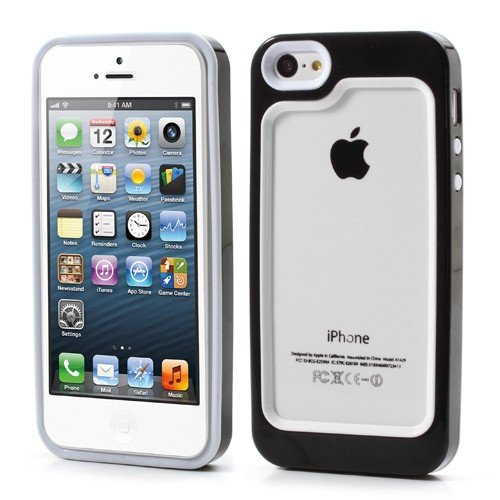 JUJEO Snap on Backless TPU Plastic Hybrid Case Cover Accessory for iPhone 5 - Non-Retail Packaging - Black
