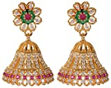 Violet & Purple Gold Alloy Jhumki Earrings for Women (1000030571)