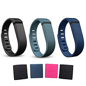 i-smile® 3PCS Replacement Bands with Metal Clasps for Fitbit Flex / Wireless Activity Bracelet Sport Wristband / Fitbit Flex Bracelet Sport Arm Band (No tracker, Replacement Bands Only) & Silicon Fastener Ring For Free (Black&Navy&Slate, Large)
