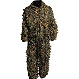Hunting Camouflage Clothing , BINKBANG 3D Leafy Ghillie Suit Woodland Camo jungle Hunting Clothes Free Size Modern Warrior Forest Design