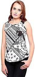 ShilpKala Women's Sleeveless Top (skt3059m, White and Black, Medium)
