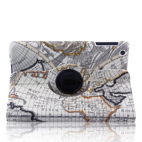 Generic Stylish Map Pattern 360° Rotating Smart Cover Pu Leather Case With 360 Degrees Rotating Stand For Apple New Ipad 4 / Ipad With Retina Display (4Th Generation) / The New Ipad 3 (3Rd Generation) / Ipad 2, Supports Auto Wake/Sleep Smart Cover Functio