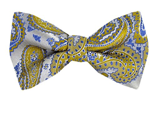 Gold - Blue - Silver Pre-Tied Paisley Bow Tie