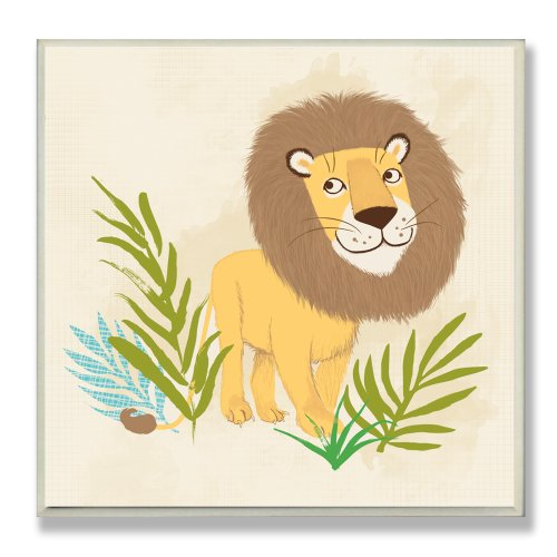 The Kids Room by Stupell Happy Lion Square Wall Plaque