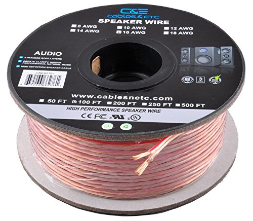 C&E CNE62287 100 Feet 16AWG Enhanced Loud Oxygen-Free Copper Speaker Wire Cable, CNE62287 (Good Wire compare prices)