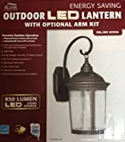 ALTAIR LIGHTING 950 LUMEN LED, ENERGY SAVING OUTDOOR LED LANTERN WITH OPTIONAL ARM KIT