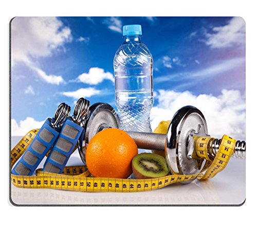 Liili Mouse Pad Natural Rubber Mousepad IMAGE ID: 13707155 steel fitness dumbbells and fruits