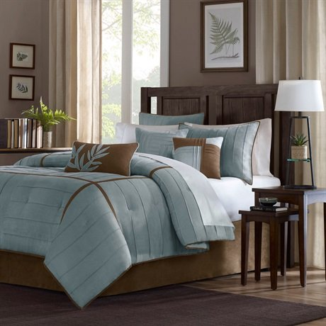 Connell 7 Piece Comforter Set Size: California King, Color: Blue front-847289