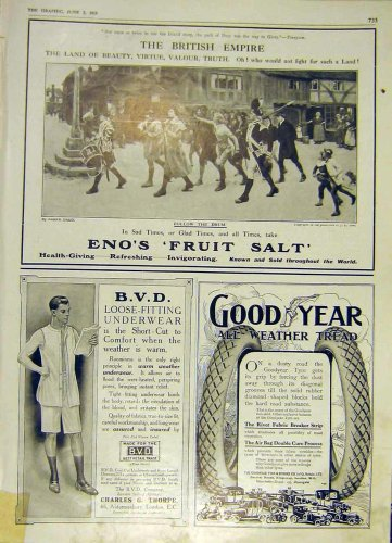 Eno'S Fruit Salt Good-Year Tyre Bvd Ww1 Old Print 1915