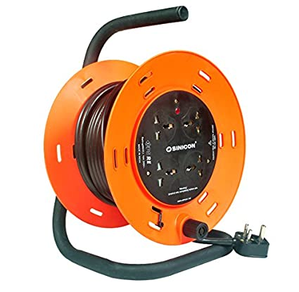 SINICON-Reel-Extension-Socket-Universal-4-Way,-15M-Cable,-10A,-230V-(Orange-&-Black)