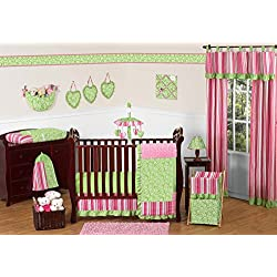 Sweet Jojo Designs Funky Pink and Lime Green Olivia Boutique Baby Girl Bedding 11pc Crib Set without bumper