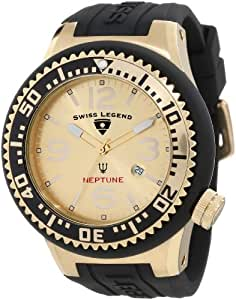 Swiss Legend Men's 21818P-YG-10 Neptune Gold Dial Black Silicone Watch
