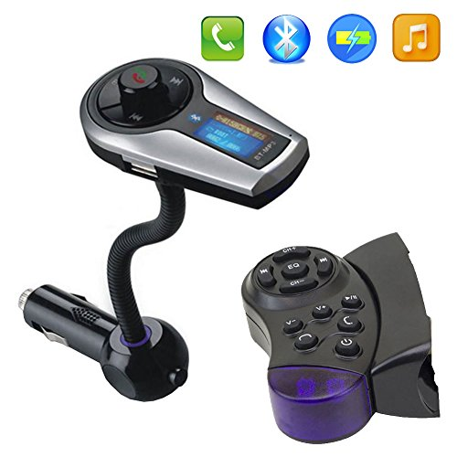 BT Car Kit MP3 Player Audio Wireless Stereo Bluetooth FM Transmitter Modulator Radio In Car Entertainment USB SD Remote+Steering Wheel Control (Modulator Steering Wheel compare prices)