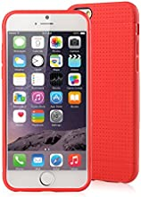 [Apple New iPhone 6 (4.7) Case] iXCC ® MX Pilot Series [Classy Fashion] Premium TPU Slim Fit Case, [Anti-Slip, Anti-Fall, Anti-Shock] Non Slip Rubber Bumper Protective Case, Shock Resistant, Back Cover with Screen Protector for iPhone 6 (4.7-inch) - Verizon, AT&T, Sprint, T-Mobile, International, and Unlocked [Red]