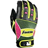 Franklin Sports MLB Youth Shok-Sorb Neo Series Batting Gloves, Black/Neon Pink/Optic Yellow, Medium