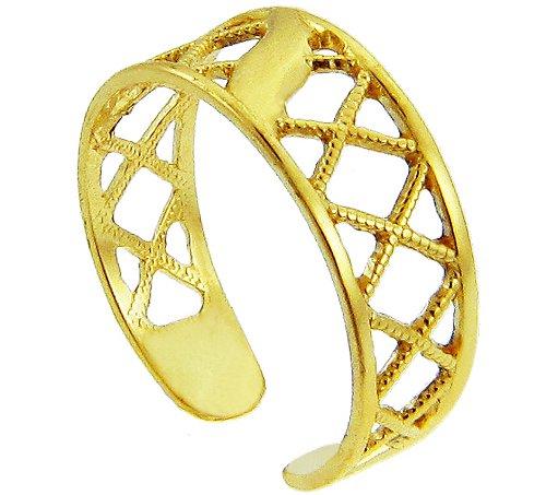 Yellow Gold Cross Hatch Toe Ring (14K Gold)