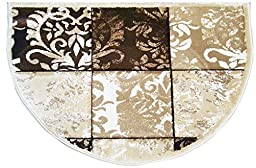 Half Moon Modern Design Fireplace Cabin House Cottage Accent (Beige) Half Circle Fire Resistant
