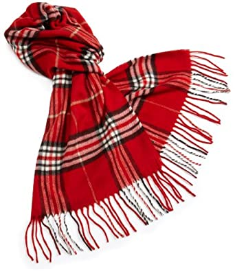 V Fraas Women's Classic Fraas Plaid Muffler,Red,One Size