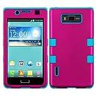 MyBat LG US730/Splendor /Venice /L86c/Optimus Showtime TUFF Hybrid Phone Cover - Retail Packaging - Titanium Solid Hot Pink/Tropical Teal