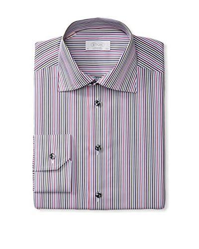 Eton Men's Contemporary Fit Multi Stripe Spread Collar Dress Shirt