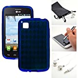 Blue Candy Crystal Skin TPU Gel Soft Fitted Case Cover for LG L39C Optimus Dynamic 2 II + Accessory Kit by Emaxx
