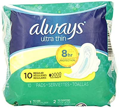 Always Ultra Thin Pads Regular with Flexi-Wings Unscented, 10 Count