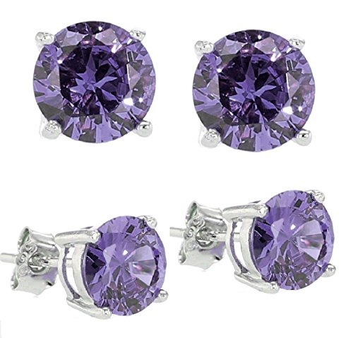 .925 Sterling Silver Purple Cubic Zirconia Stud Earrings 2.00 Carats Total Weight