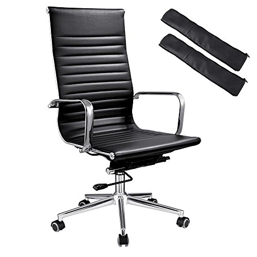 Yescom Tall Executive High Back Ribbed PU Leather Office Computer Desk Chair Contemporary Black