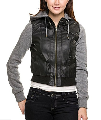 TL Womens Faux Leather Zip Up Moto Cropped Bomber Jacket With Hoodie (Large, 67037_BLACKHGREY)
