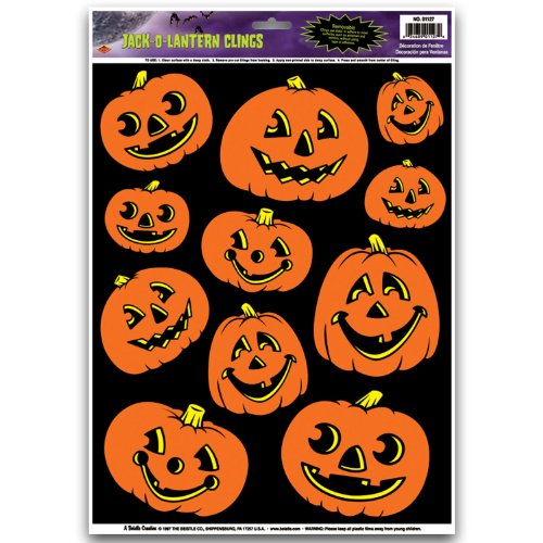 Jack-O-Lantern Glass - Window Clings 12in. x 17in. Sheet Pkg/12