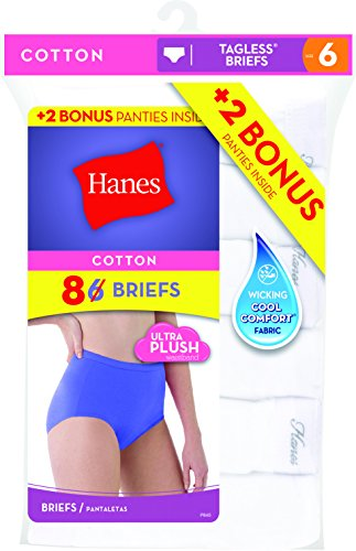 f0c0ad4d411 Hanes Women s 6-Pack Core Cotton Brief Panty White (Bonus +2)