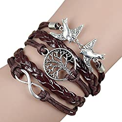 Sortitio's Bird Leaves Tree Brown Bracelet