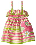 Youngland Baby Girls' Stripe Print Heart Applique Sundress