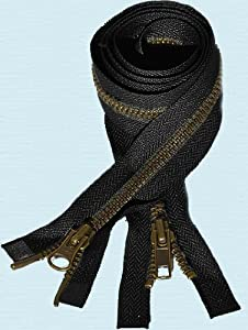 "Zipperstop Wholesale YKK® 36"" Jacket Zipper YKK #5 ""2-way"" Antique Brass ~ Separating~ YKK Color 580 Black (1 Zipper/pack)"