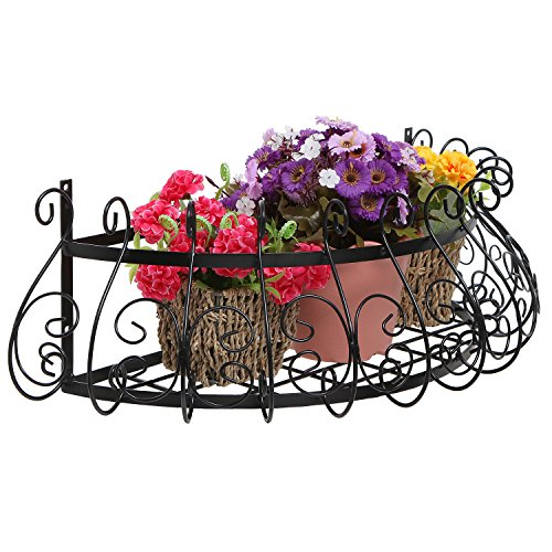 Black Metal Scrollwork Design Wall Mounted Flower Plant Shelf Display / Decorative Window Boxes Planters
