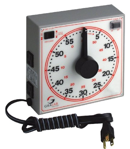 """Gralab Model 171 60 Minute General Purpose Timer, 7-1/2"""" Length X 7-1/2"""" Width X 2-1/2"""" Height, +/-0.015% Accuracy"""