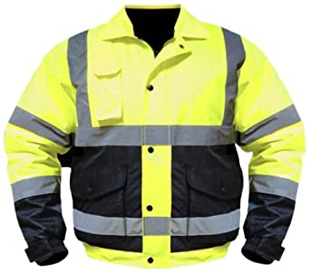 Utility Pro UHV563 Nylon/Polyester High-Vis Bomber Jacket with Zip-Out Fleece Liner with Dupont Teflon fabric protector,  Lime/Black,  Medium