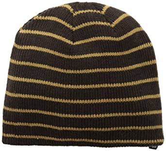 Izod Men's Ribbed Knit Skull Cap with Contrast Stitching, Brown, One Size