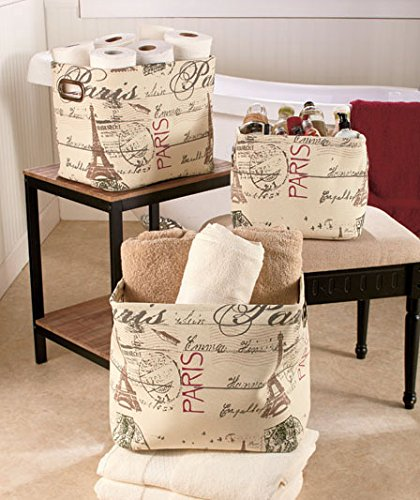 3 Piece Set Paris Eiffel Tower Print Storage Organizer Fabric Tote Bin Basket (Storage Tower Baskets compare prices)