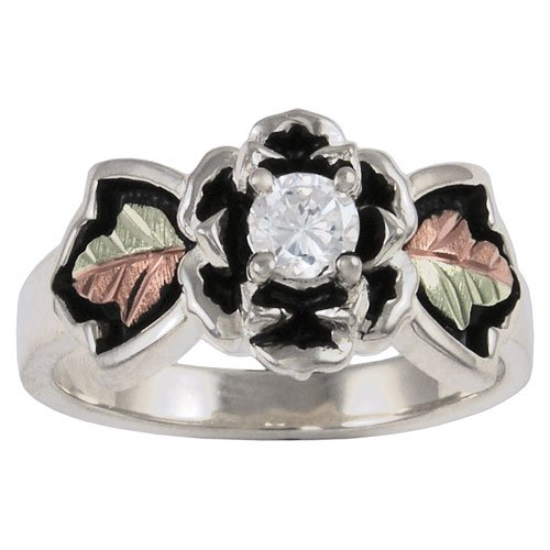 Antiqued Black Hills Gold on Sterling Silver Rose Ring with 4.0 mm Cubic Zirconia - Ring Size 12.5