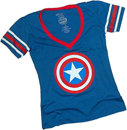 Shield Logo -- Captain America Striped-Sleeve Fitted Jersey Juniors T-Shirt