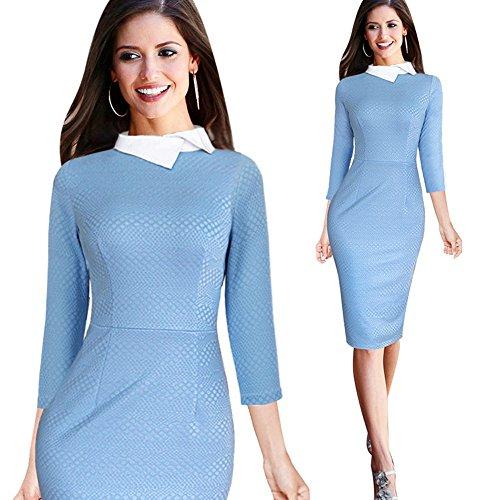 Merope J Womens Long Sleeves Sweet OL Collar Midi Formal Cocktail Dress(XXL,Blue)