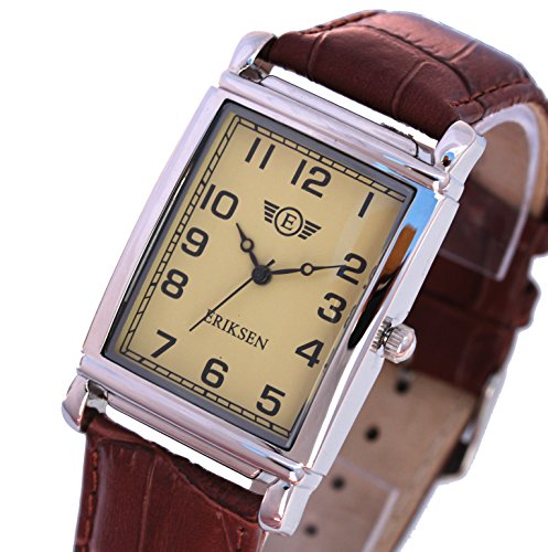 Mens Rectangular Dress Watch. Distinctive vintage styling with Leather Strap.