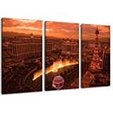 Foto Las Vegas, 3-pedazo de la lona (Total Tamaño: 120x80 cm), la impresión del arte de alta calidad como un mural...