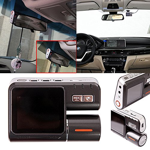 HDE 1080p HD Dual Lens Dashboard Car DVR Dash Cam and Rear View Camera Accident Recording System with Night Vision and Motion Detection/G-Sensor