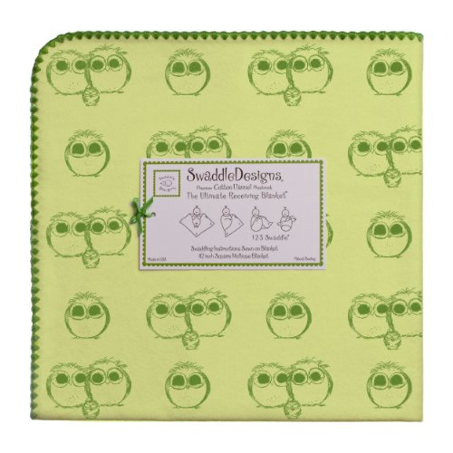 SwaddleDesigns Ultimate Receiving Blanket, Jewel Tone Owls, Pure Green